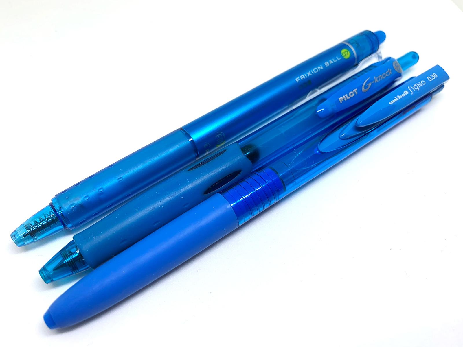 ライトブルーのペン3種