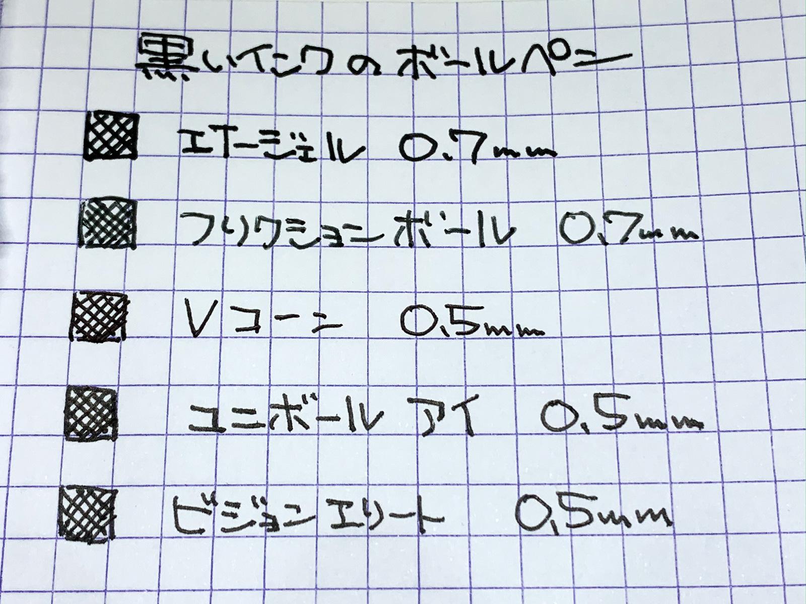 黒インクのボールペンで書いてみた