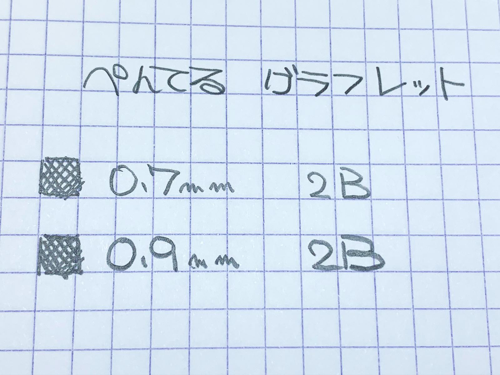 ぺんてる グラフレット 0.7mmと0.9mmで書いてみた