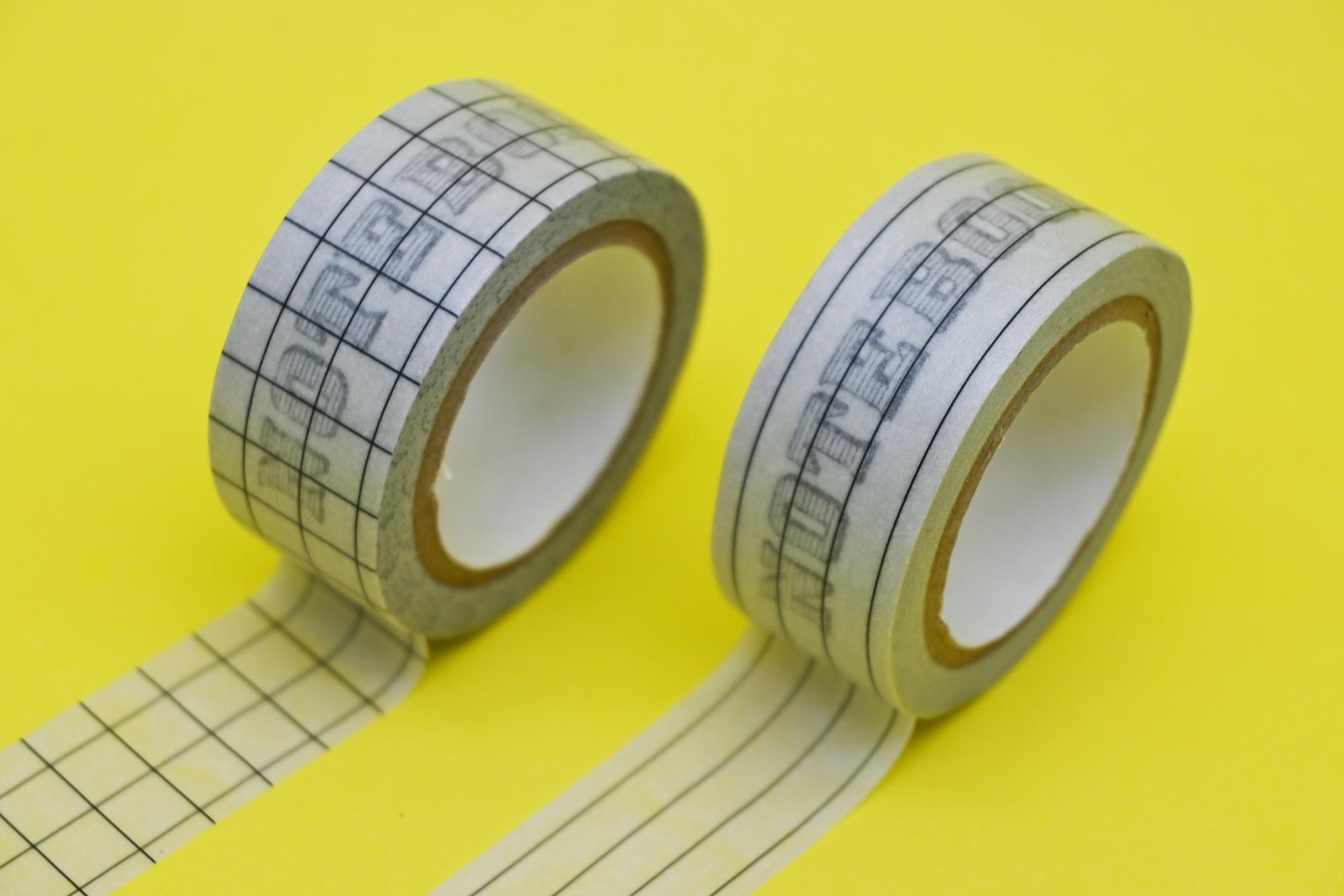 マスキングテープ(価格:税抜400円・素材:紙・バリエーション:横罫、方眼)