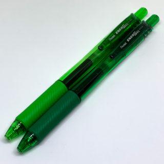 「ぺんてる エナージェル・エックス」0.5mm グリーン&ライムグリーン
