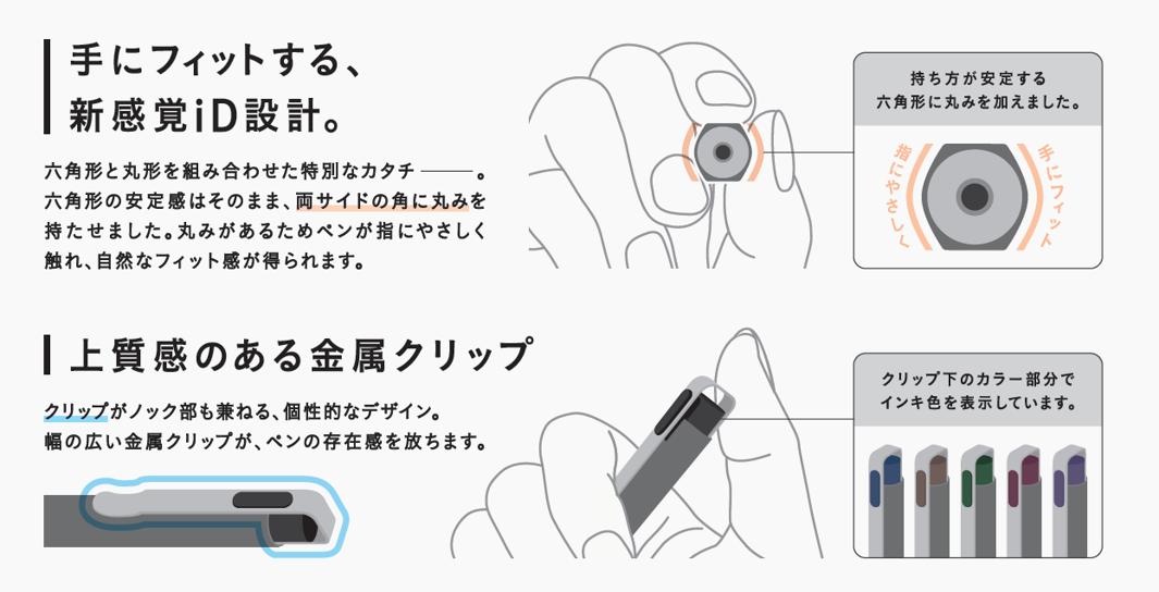 手にフィットする、新感覚iD設計 / 上質感のある金属クリップ